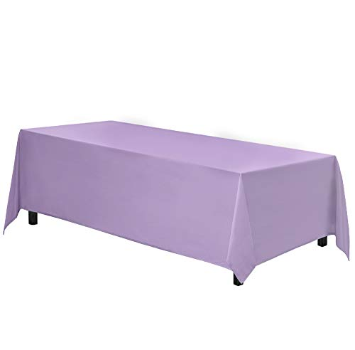 Gee Di Moda Rectangle Tablecloth - 90 x 132' Inch - Lavender Rectangular Table Cloth for 6 Foot Table in Washable Polyester - Great for Buffet Table, Parties, Holiday Dinner, Wedding & More