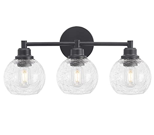 Globe Vanity Light Fixtures, 3-Light Modern Metal Black Finish Wall Sconce for Bathroom, Industrial Wall Lighting with Cracked Glass Shade(with Cracked Glass Shade 3-Light)