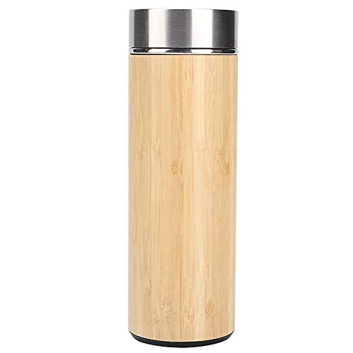 Pelnotac Botella de aislamiento térmico, portátil al aire libre, cubierta de bambú, protección del medio ambiente para casa, oficina, viajes, 350 ml