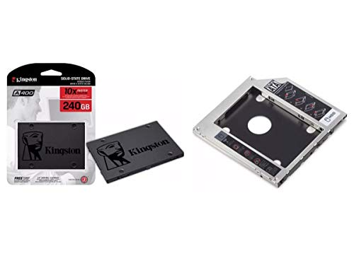 "Kit SSD Kingston 240GB A400 2.5"" SATA SA400S37/240G + Adaptador Caddy DVD Drive 9.5mm"