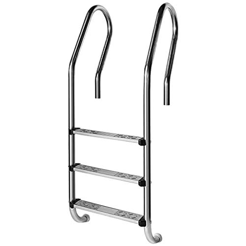 YERT- Escalera para Piscina con escalón Antideslizante, pasamanos de Acero Inoxidable de 3 escalones en el Suelo para Piscinas, Capacidad de Peso 440 LB, Adecuada para baños al Aire Libre (3 Estilos ⭐