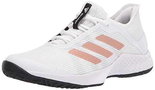 adidas Men's Adizero Club Tennis Shoe, White/Copper/Black, 7.5