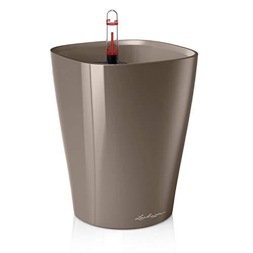 Lechuza 14904 DELTINI Tischgefäß, Hochwertiger Kunststoff, Herausnehmbarer Pflanzeinsatz, Für Innenraumbegrünung geeignet, taupe hochglanz