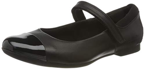 Clarks Scala Gem K, Bailarinas para Niñas, Negro (Black Leather Black Leather), 33 EU