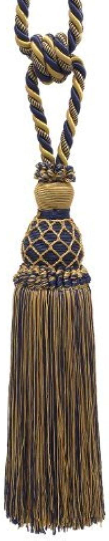 Elegante oro, Oscuro Azul Marino cortina y borla de cortina abrazaderas borla de 10 , 301 2  Spread (Embrace), cable de 3 8 , oro Imperial II colección estilo   tbin-1Color  azul marino–1152