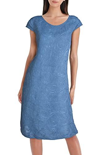 PEKIVESSA Damen Leinenkleid Häkel-Stickerei Sommerkleid Jeansblau 40 (Herstellergröße L)