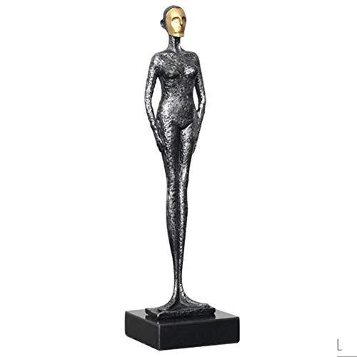 APAN Figura Abstracta Moderna Estatua de Arte Elegante estatuilla de Adorno,Escultura de Hierro Fundido,Decoración de Escritorio de Oficina en casa contemporánea Regalo Chica Militar 10x10x38cm