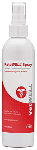 KetoWELL Chlorhexidine & Ketoconazole Antiseptic Medicated Spray for Dogs & Cats - Hot Spot Treatment, Ringworm, Yeast, Fungal Infections, Acne - Aloe & Vitamin E - 8 oz