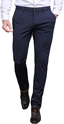 Pantaloni classici da uomo ad alta elasticità, pantaloni casual da uomo daffari