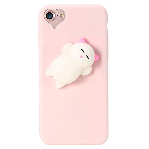 can't be satisfied Cat Case for iPhone 5s 5 SE 7 7 Plus 6 6s Plus Squishy Case Cute Silicon Cartoon Cat Cases for iPhone X 7 6 6s 5S Cover,Cat 2 Pink,for iPhone 6 6s
