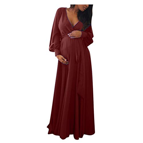 Vestido sexy de maternidad para mujer con cuello en V y mangas largas, vestido de premamá elegante para mujeres embarazadas, vestido de encaje con fotografía, vestido largo con volante.