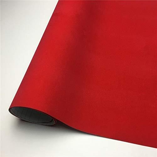 JiuRui DIY Verpackung Suede-Vinylverpackungs-Samt-Vinylverpackungs-Film Car Wrapping Blatt-Aufkleber Für Auto-Wraps Fahrzeug Aufkleber Console Computer-Haut (Color Name : Red, Größe : 135X50 cm)