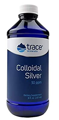Trace Minerals Research Vegan Colloidal Silver, Bio-Active Silver Hydrosol Liquid Mineral Supplement, Natural & Pure, 30 PPM, 8 fl. Oz
