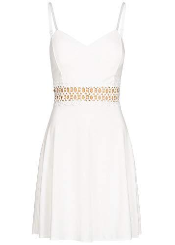 Styleboom Fashion® Damen Kleid Mini Strap Lace Dress Trägerkleid Sommerkleid Weiss, Gr:L