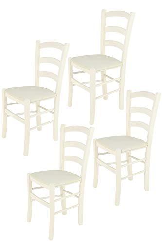 Tommychairs - Set 4 sillas Venice para Cocina y Comedor, Estructura en Madera de Haya Color anilina Blanca y Asiento tapizado en Tejido Color Marfil
