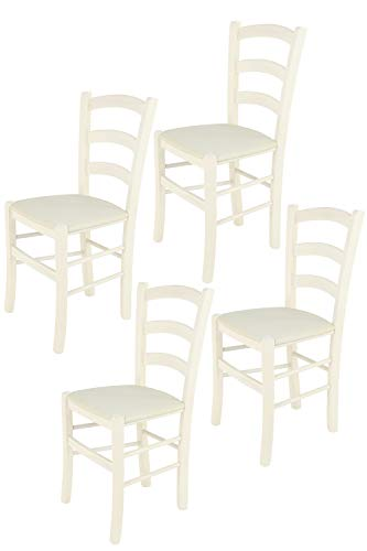 Tommychairs sillas de Design - Set 4 Sillas Modelo Venice para Cocina, Comedor, Bar y Restaurante, Estructura en Madera de Haya Color anilina Blanca y Asiento tapizado en Tejido Color Marfil
