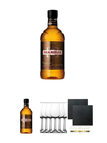 Drambuie Whiskylikör 0,7 Liter + Drambuie Whiskylikör 0,7 Liter + Whisky Nosing Gläser Kelchglas Bugatti mit Eichstrich 2cl und 4cl 6 Stück + Schiefer Glasuntersetzer eckig ca. 9,5 cm Ø 2 Stück