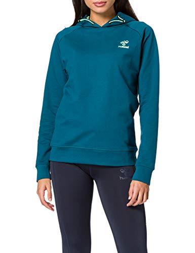 HUMMEL ACTION COTTON HOODIE WOMAN Sweatshirt, BLUE CORAL/GREEN ASH, M