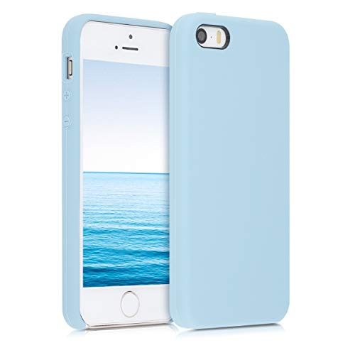 kwmobile Funda Compatible con Apple iPhone SE (1.Gen 2016) / 5 / 5S - Carcasa de TPU para móvil - Cover Trasero en Azul Pastel