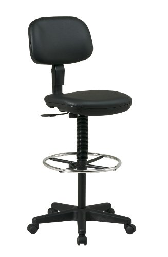Office Star Sculptured Vinyl Seat and Back Pneumatic Drafting Chair with Adjustable Chrome Foot...