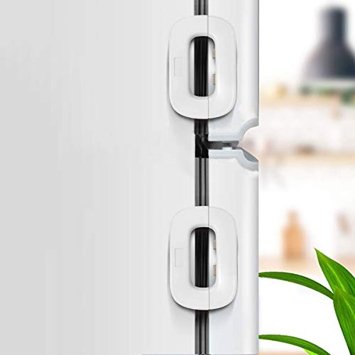 HEOATH Upgrade Home Refrigerator Fridge Freezer Door Lock Latch Catch Toddler Kids Child Baby Safety Lock Easy to Install and Use 3M VHB Adhesive no Tools Need or Drill (White,2 Pack)