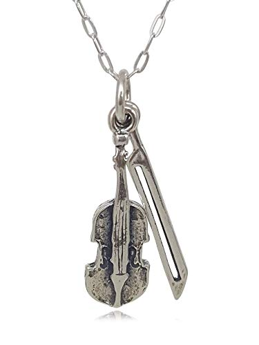 """Sterling Silver Violin with Bow Fiddle Musical Instrument 3D Charm Necklace, 18"""""""