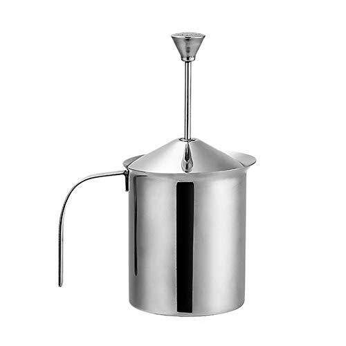 Manueller Milchaufschäumer - Edelstahl - 400/800 ml - Perfekter Milchschaum Dank Doppelsieb und speziellem Pressmechanismus (Size : 400ml)