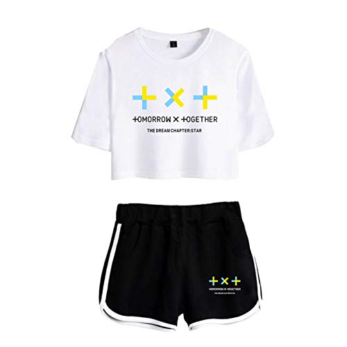 babyhealthy Kpop TXT Album Crop Tops Suit Soobin Yeonjun Beomgyu Taehyun Hueningkai Tee Shirt Shorts Sets Merch