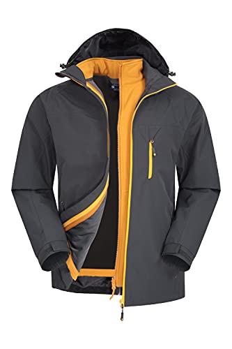 Mountain Warehouse Brisk Chaqueta 3 en 1 Hombre - Chubasquero Impermeable, Transpirable, Abrigo de Lluvia con Costuras Selladas, Cremallera Interior, Exterior Softshell Gris Oscuro 3XL