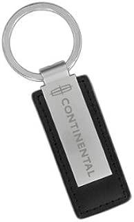 Lincoln Continental Black Leather & Metal Rectangular Key Chain Keychain Fob