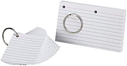 Oxford Just Flip-It Punched and Perfed Study Cards, 75 Full Size Cards or 150 Half Size Study Cards, Ruled, White (63506EE)
