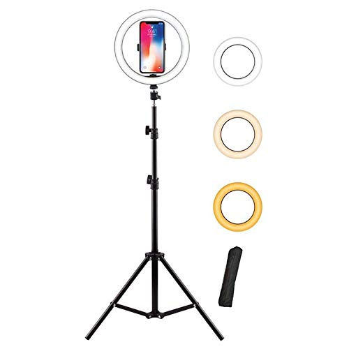 Anillo De Luz Selfie 10 Pulgadas Ring Light Con 63 Pulgadas Trípode Para Maquillaje Regulable Cámara Led Ring Light 3 Modos De Luz 10 Niveles De Brillo Compatible Con Iphone Andr-