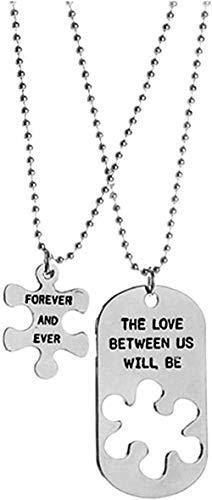 LBBYMX Co.,ltd Collar de Pareja de Costura de Moda El Amor Entre Nosotros Colgantes rectangulares Grabados Joyería de Moda Collares