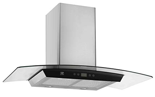 AVERA Campana extractora para cocina (90cm) Control Digital. Cristal Curvo y Acero Inoxidable. CEVD90.