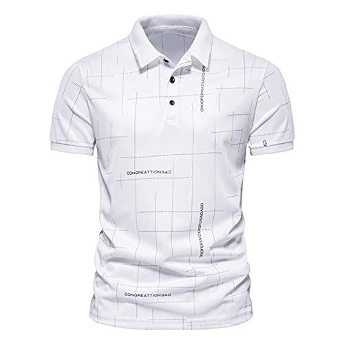 Polo para hombre, camisa de negocios, camisa de manga corta, cuello redondo, corte ajustado, elástico, monocolor, para verano, deporte, tenis, golf, cuello en V, Blanco_1, L