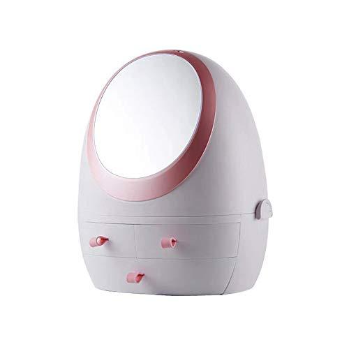 Kosmetikbox Tisch Desktop Schmuck Integrierte Rack Kosmetik Aufbewahrungsbox Mit Spiegel Staubdichtes Hautpflege-Dressing