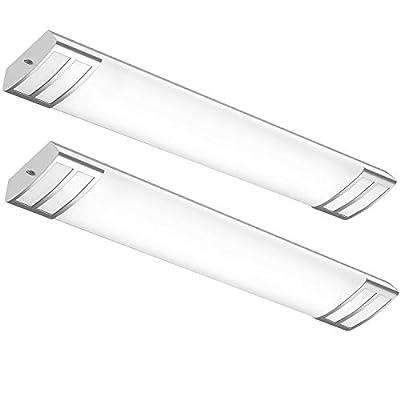 AntLux 4ft led Light Fixture 50W 5600lm LED Linear Flush Mount Light, 4000K, 4 Foot led Kitchen Ceiling Light fixtures for Living Room, Laundry, Replace for Fluorescent Version 2 Pack
