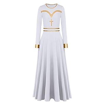 Womens Metallic Cross Praise Loose Fit Full Length Long Sleeve Dance Dress Gold Color Block Liturgical Lyrical Dancewear Gown Loose Fit Full Length Robe Skirt Worship Costume White + Gold Cross XL