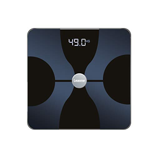 Leaone Bluetooth Body Fat Scale Usb Rechargeable Smart Digital Bathroom Weight Scale Body Composition Analyzer With Ios & Android App for Body Weight, Fat, Water, Bmi, Bmr & Muscle Mass, Black, 1 Lb