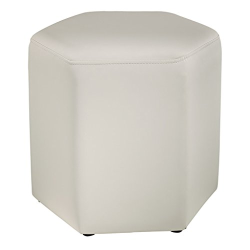 LI Jing Shop - Sofa Stool Changer Tabouret de Chaussures Simple PU Low Stool/Creative Hexagon Repose-Pieds Moderne, Table Basse Assise sur Le Quai (Couleur : Blanc)