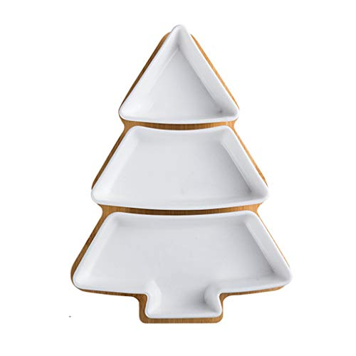 xiaokeai Cuencos Aperitivo Árbol de Navidad en Forma de Placa de cerámica del hogar Irregular Placa de Postre Fruta Placa Placa del Desayuno Dried Fruit Plate Determinado de la Placa Salsa Cuencos