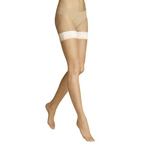 ITEM m6 - INVISIBLE STAY-UPS Damen | light tan / butterscotch | S | Halterlose Strümpfe mit Kompression im 15 DEN Look