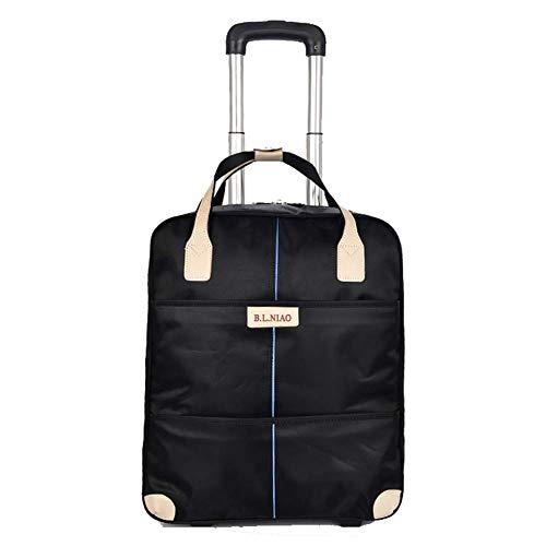 DYYTR Trolley Handtasche Gepäck Reisetasche Mit Versenkbaren Hebel Rad Wasserdicht Dual-Use-Tasche (Schwarz)