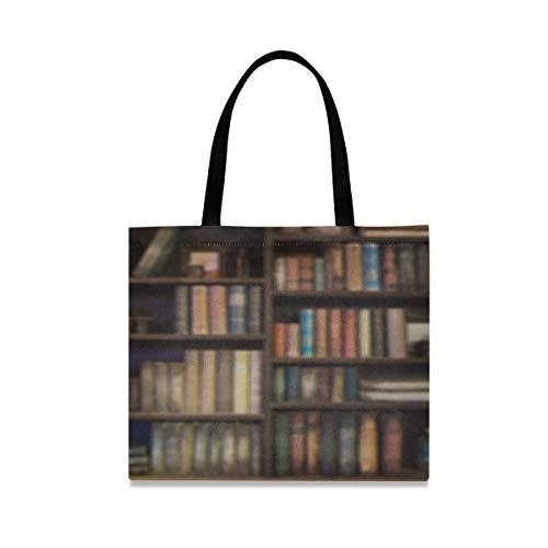 Große quadratische Kapazitäts-Büro-Umhängetasche Viele alte Bücher auf Bücherregal in der Bibliothek Segeltuch-Geschenk-Tasche 19,7 x 16.9in Druck für die Mädchen-Damen, die tägliche Arbeit kaufen