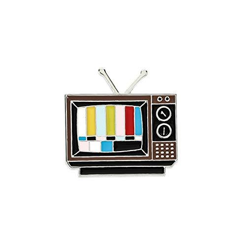 Old-School Antena Pantalla de TV Broches Sin señal Copo de nieve Vintage Pines redondos Divertidos para amigos Chaquetas Denim Esmalte Pin-Tv, China