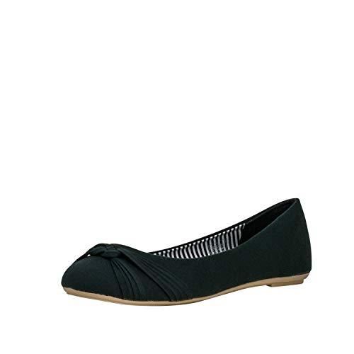 Fitters Footwear That Fits Damen Ballerina Amy Textil leicht aus Stoff Übergröße (44 EU, schwarz)