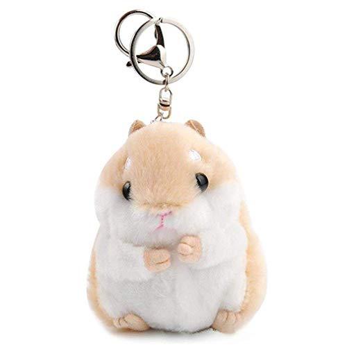 Pinhan Cartoon Plüschtier Hamster Keychain Anhänger Dame Tasche Schlüsselanhänger Schmuck Zubehör Weiblichen Beutel Anhänger Kleines Geschenk, Brauner Gürtel