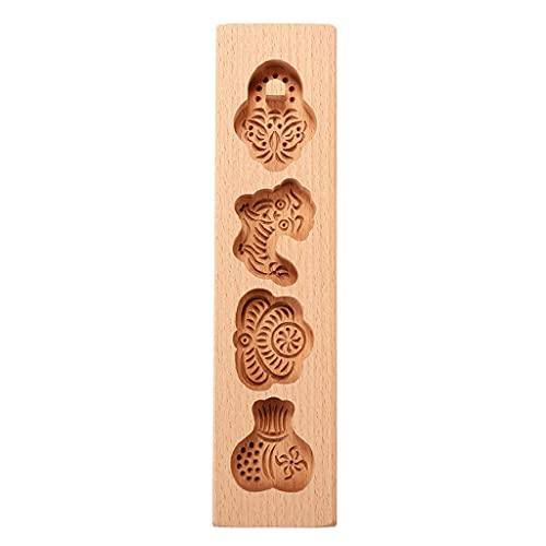 PHILSP Materiał drewna pieczenie księżyc ciasta formy wypieki bułki na parze nadruk makaron owoce ciasto księżycowe drewniane foremki płaskie formy B