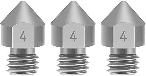 satukeji Perfect for 3Pcs Tc4 Titanium Alloy Nozzles 0.2/0.3/0.4/0.5Mm Optional M6 Thread Mk8 Extruder Nozzle for 1.75Mm Filament Compatible with Cr-10 Ender 3 Ender-3 Pro (Size : 0.4mm)