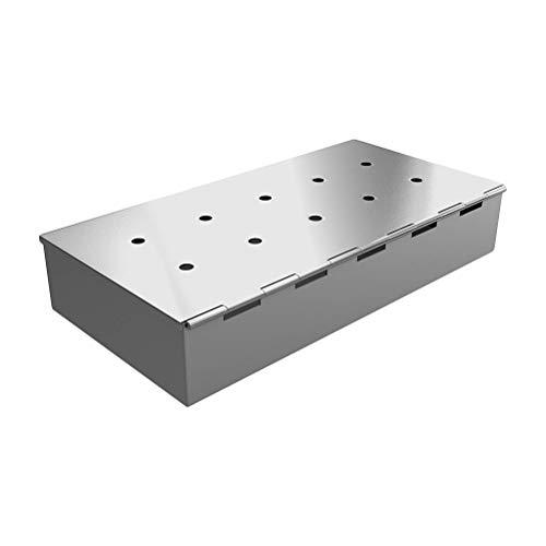 Yissma Smokerbox Räucherbox Edelstahl Grillzubehör für Gasgrill, Kohlegrill und Kugelgrill Aromabox Maße 22.7 * 9.5 * 4cm